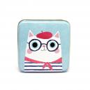 Katt med basker och glasögon (burk)