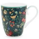 Mugg Winter wonderland - fågel och blommor