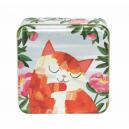 Orange katt med rosa blommor (burk)