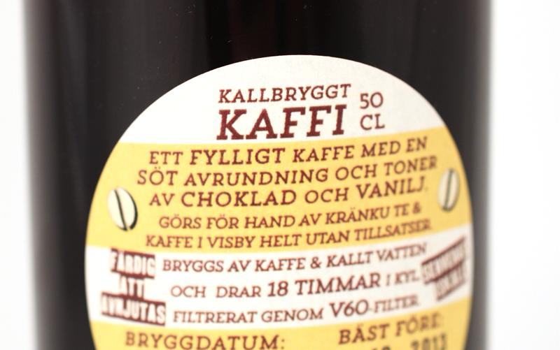 Kallbryggt Kaffi Baksida flaska